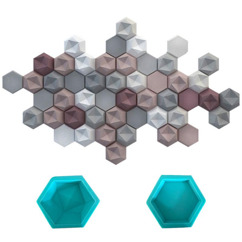 Hexagon Handicraft Silicone Mold Geometric Concrete Molds TV Background Decor Wall Brick Silicone Moulds For Wall Stone Tile