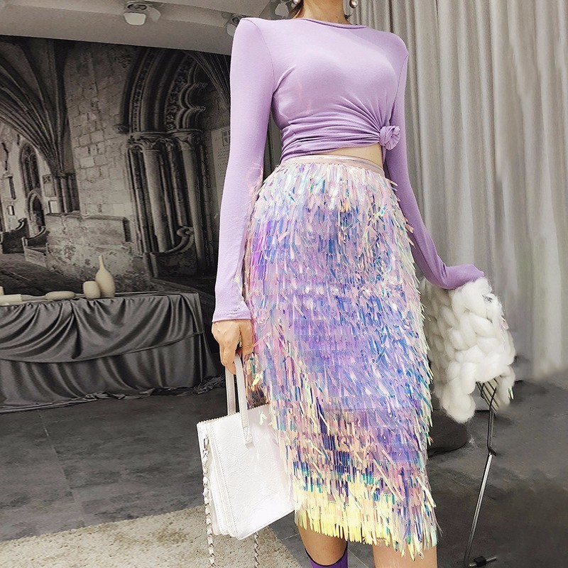 LANMREM 2019 Autumn Fashion New Elastic High Waist Sequin Tassel Tide All-match Female's Mesh Skirt YE588