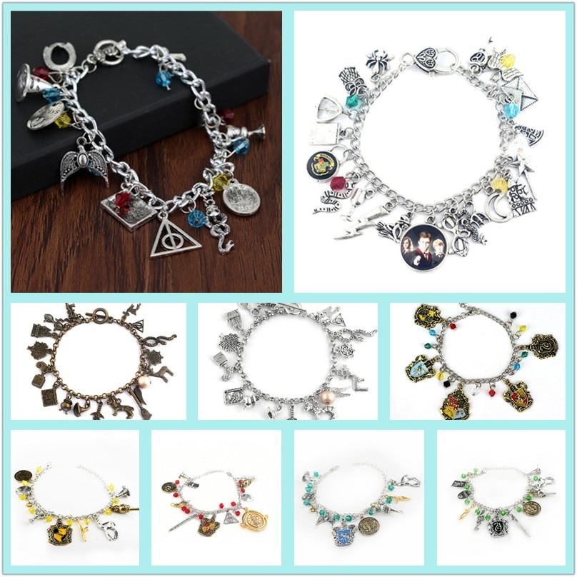50 pcs lot hot Harri Potter necklace bracelet HOGWARTS wand magic element combination snitch silver Jewellery