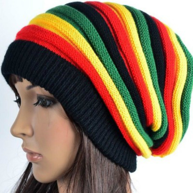 56989c37a6d New Pom Pom Winter Hip Hop Cap Bob Marley Jamaican Rasta Reggae  Multi-colour Striped Beanie Hats Mens Women Beanies Ski Knit Hat