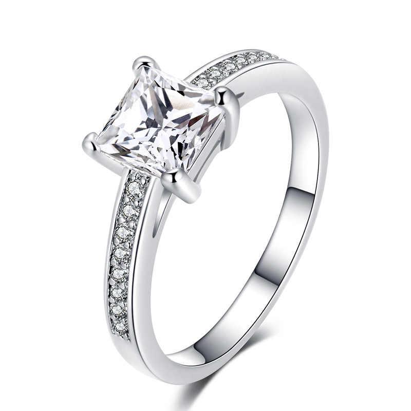 สแควร์เงิน 925 แหวนสตรีแหวนสีน้ำเงินเข้มพลอย Crtstal หยกเครื่องประดับ Diamante Bizuteria