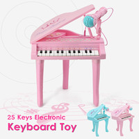 2 Colors 25Keys Keyboard Toy Electronic Organ Kids Piano Microphone Musical Instrument Playing Toy Set Children Gifts USB