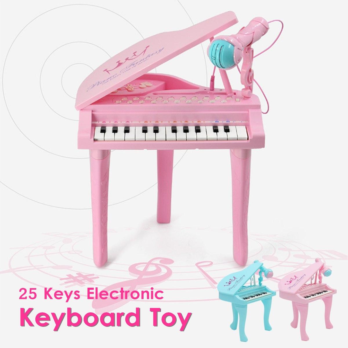 2 couleurs 25 touches clavier jouet orgue électronique enfants Piano Microphone Instrument de musique jouant jouet ensemble enfants cadeaux USB