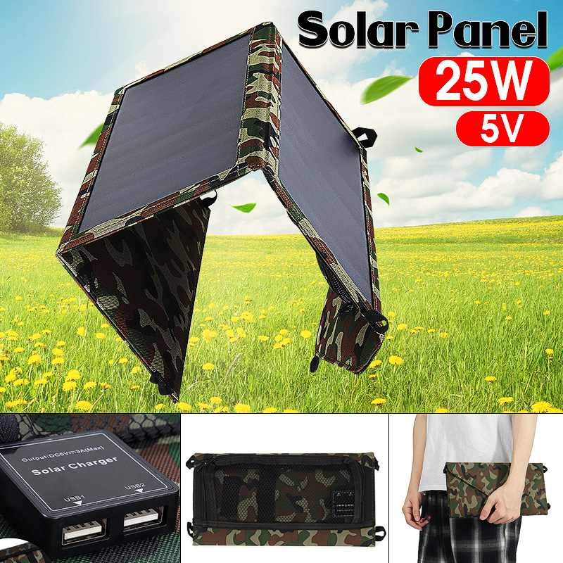 Dual USB Port Portable 25W 5V Solar Panel Folding Foldable Waterproof Charger Mobile Power Bank for Phone BatteryDual USB Port Portable 25W 5V Solar Panel Folding Foldable Waterproof Charger Mobile Power Bank for Phone Battery