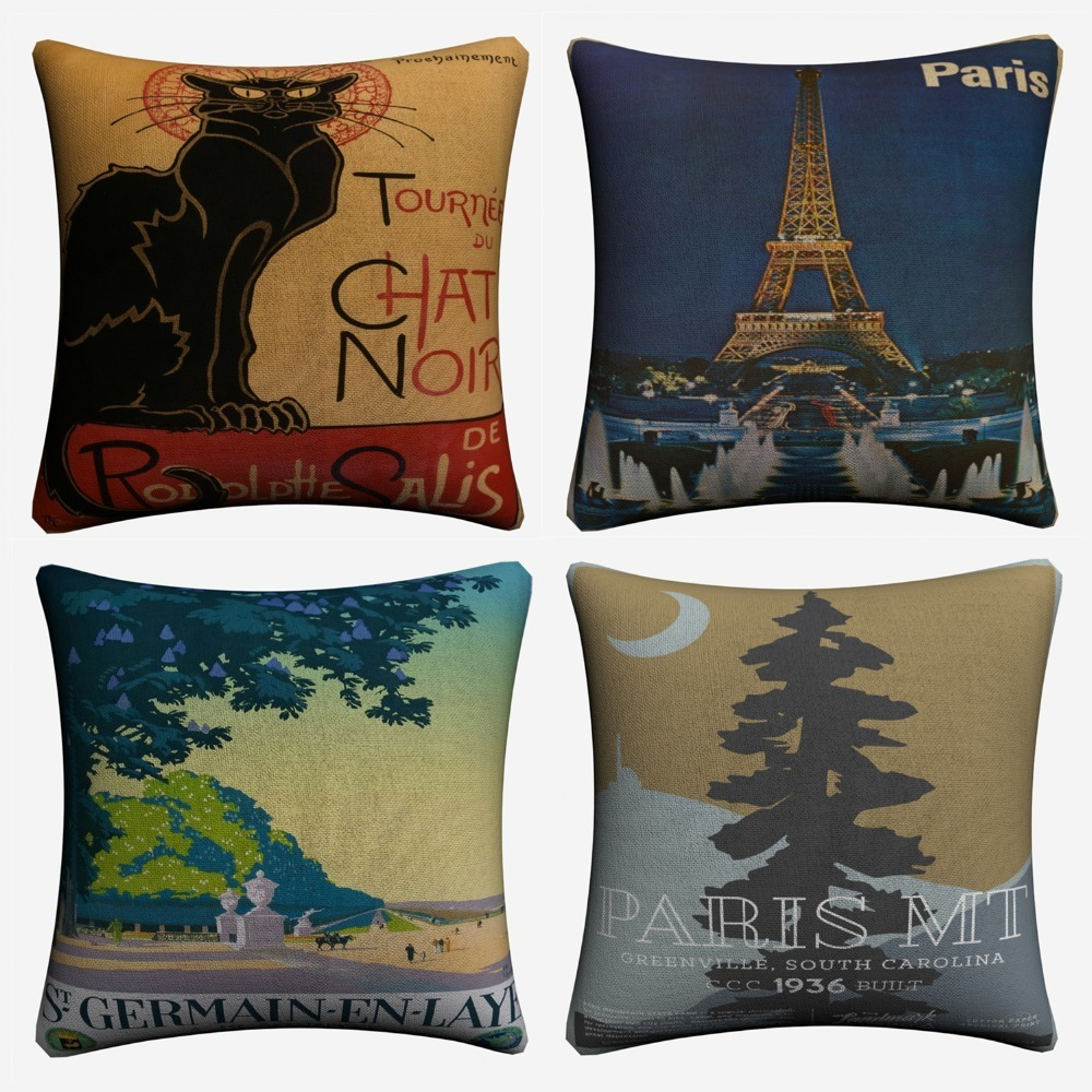Retro Paris Cotton Linen Square Throw Pillow Case Shell Cushion Cover Home Decor
