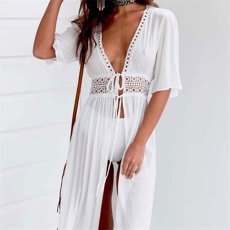 Sexy Ladies Women Bikini Cover up Beach White Dress Swimwear Beachwear Bathing Suit Summer Dress XXXL