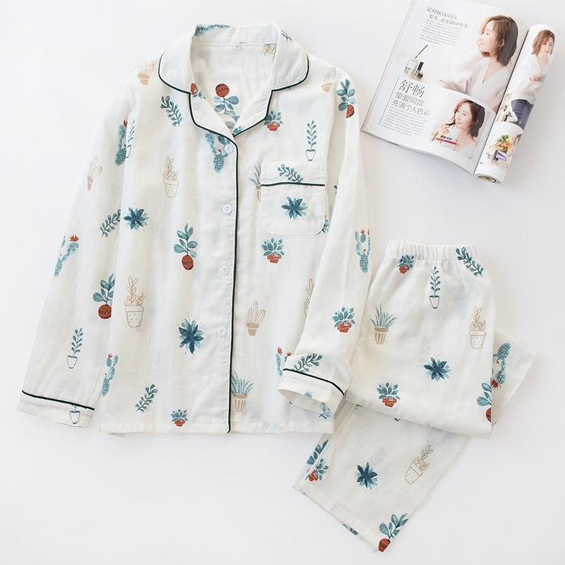 New Women   Pajama     Set   Japanese   Pajamas   2 Piece Long Sleeve Double-layer Yarn 100% Cotton Pijama Mujer Autumn Sleepwear Home Suit