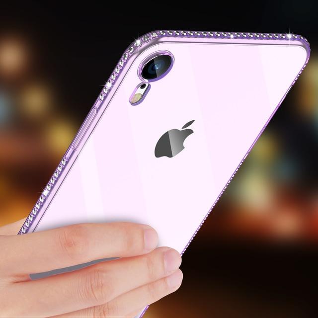 Moskado Bling Kim Cương Điện Thoại Trường Hợp Đối Với iPhone 6 6 S 7 8 Cộng Với X XR XS Max Trong Suốt Sáng Mềm TPU Đối Với iPhone 5 5 S SE Điện Thoại Trường Hợp