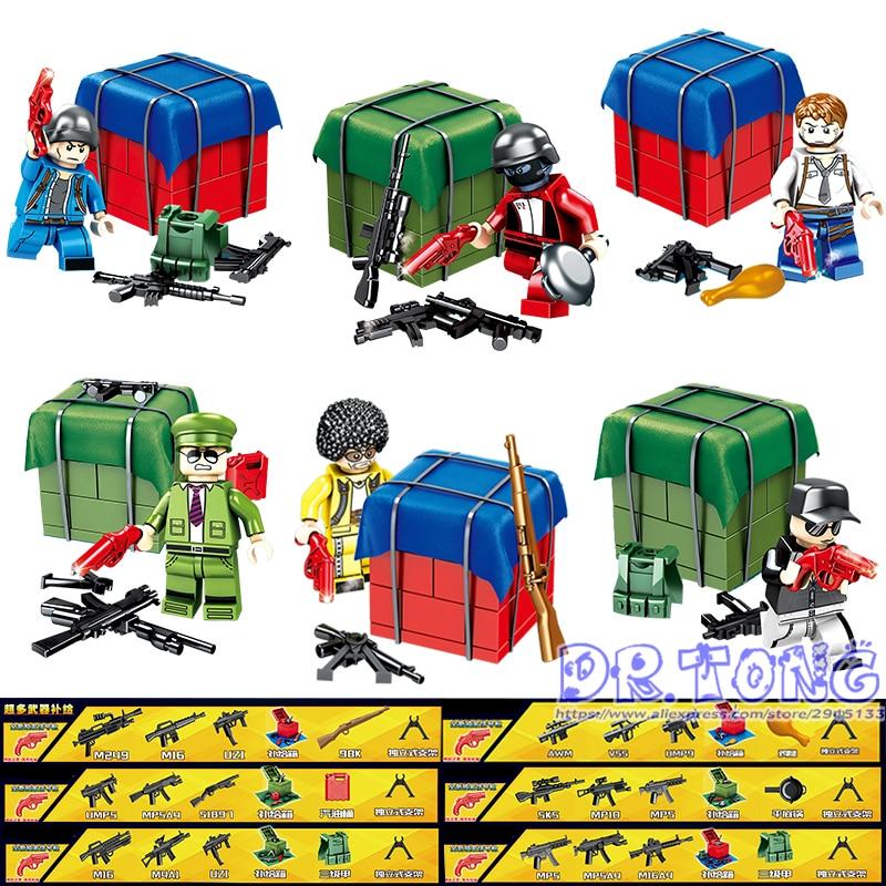 60PCS PUBG Game Action Figure Building Blocks Army Weapon Military Soldier Winner Winner Chicken Dinner Gift Children Toys D221 цена
