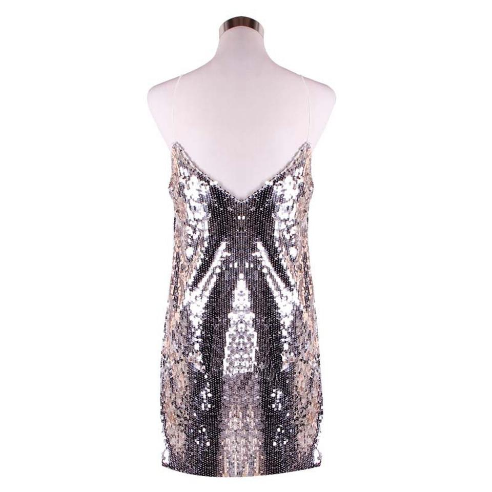 Karlofea Deep V Neck Silver Sequined Club Dress Women Sexy Strap Mini Dress  Fashion Shiny Party Streetwear Chic Glitter Dress-in Dresses from Women s  ... effdc89f3c3f