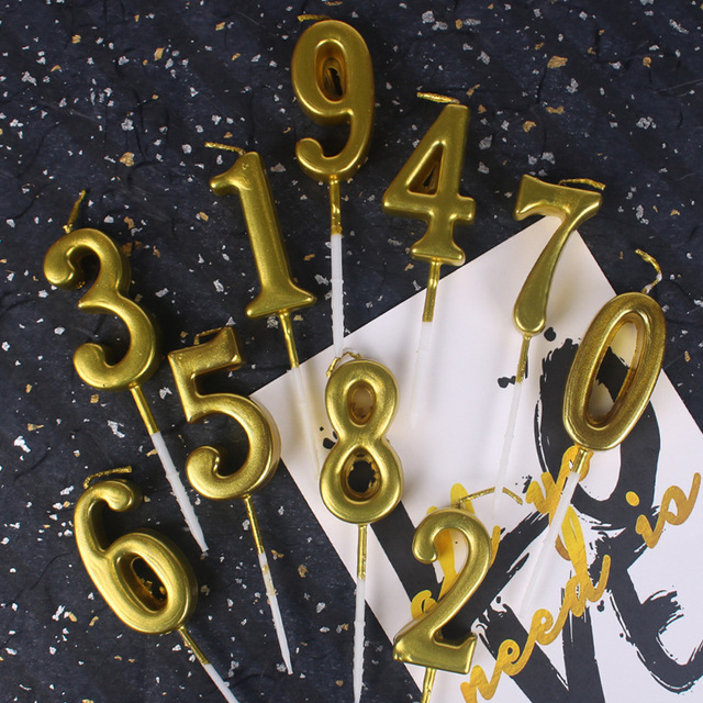 1pcs Gold 0 9 Numbers Candle For Happy Birthday Party Wedding Cake Topper Decoration Supplies