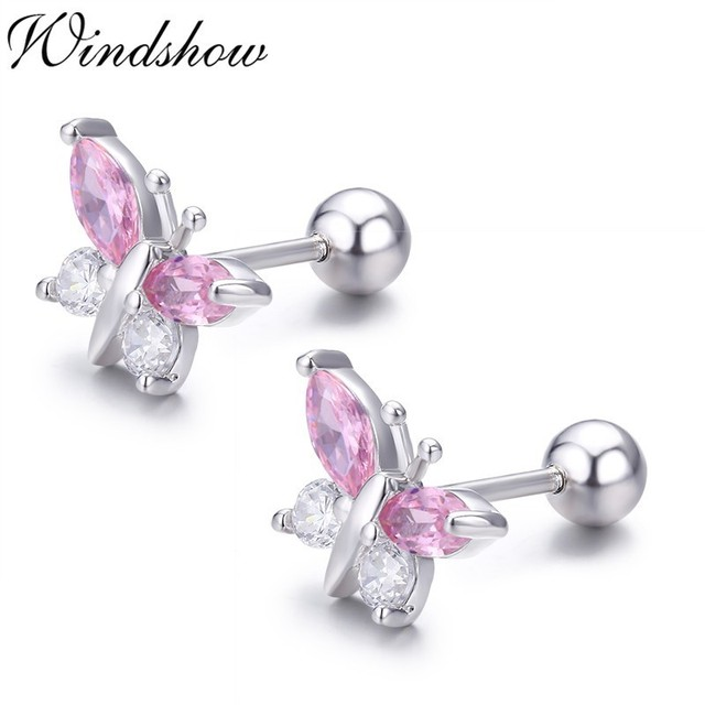Cute 925 Sterling Silver Butterfly Pink CZ Screw Back Stud Earrings For Women Child Girls Kids.jpg 640x640 - Cute 925 Sterling Silver Butterfly Pink CZ Screw Back Stud Earrings For Women Child Girls Kids Jewellery Orecchini Aros Aretes