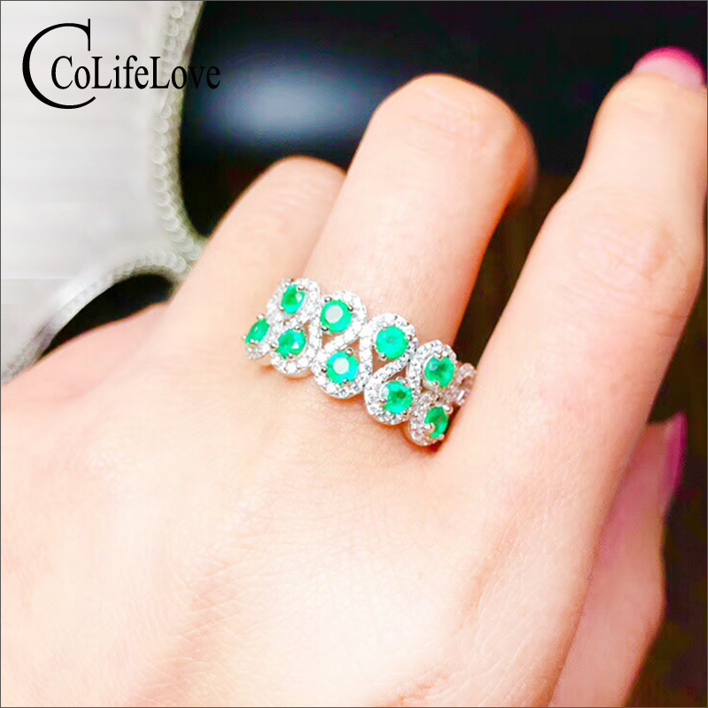 Baroque silver emerald ring for party 9 pcs natural Colombia emerald silver ring solid 925 silver