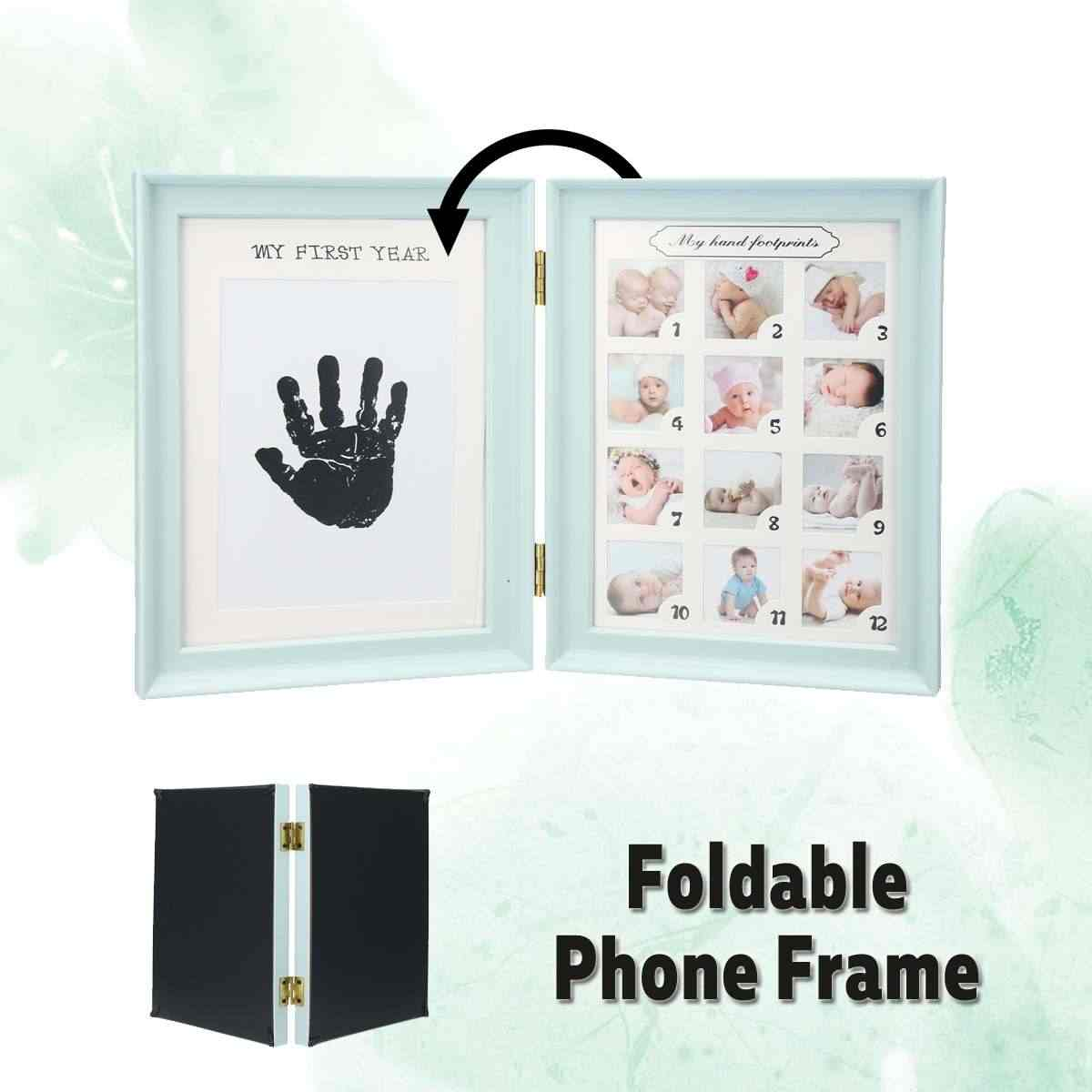 Photo Picture Frame Poster Room Baby Photo Frame First Year 12Month Newborn Footprint Record with Craft ink Pad Paper Set