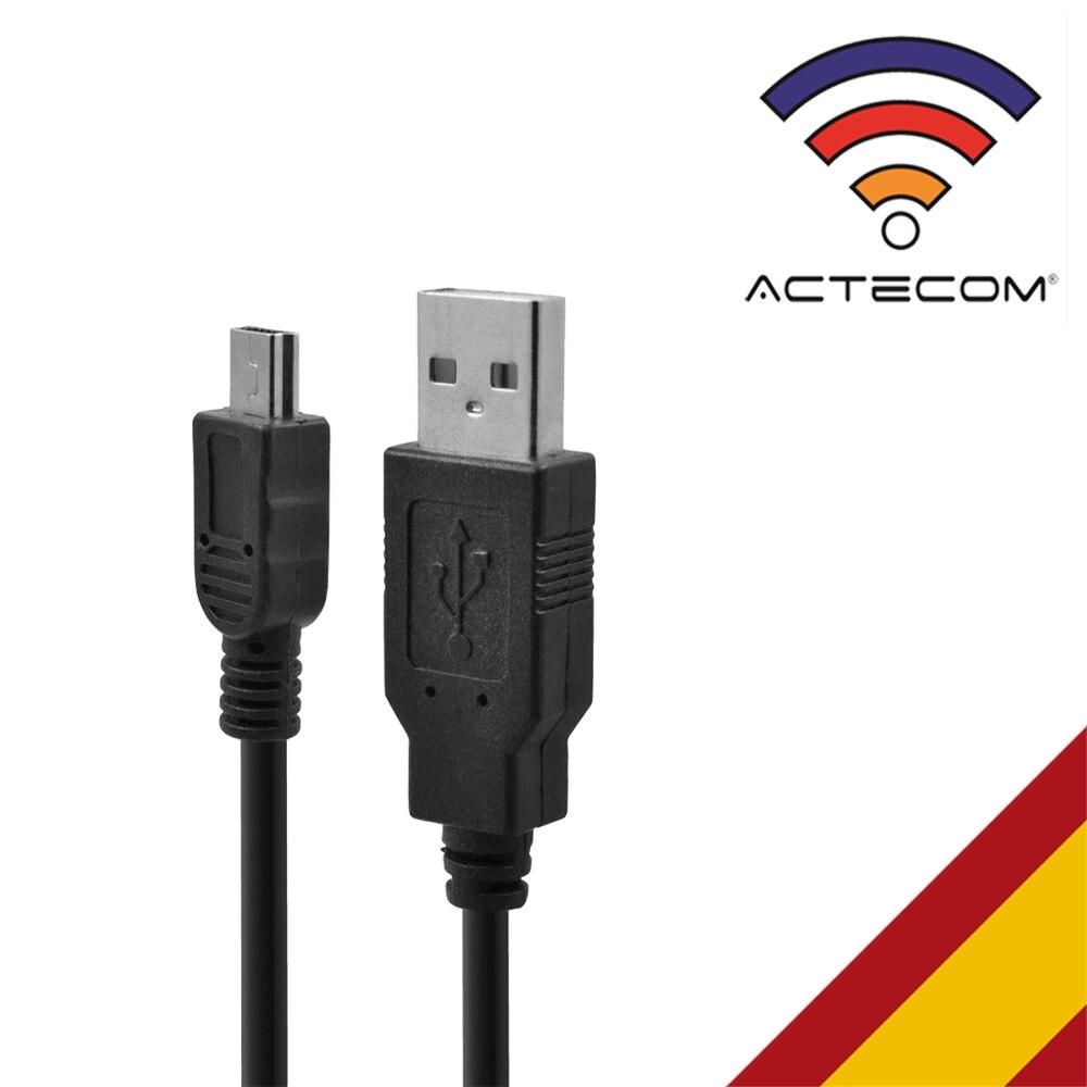 ACTECOM Cable Cargador USB De 2.0 A Mini USB 5 Pin Para Cargar Camaras Fotograficas, MP3