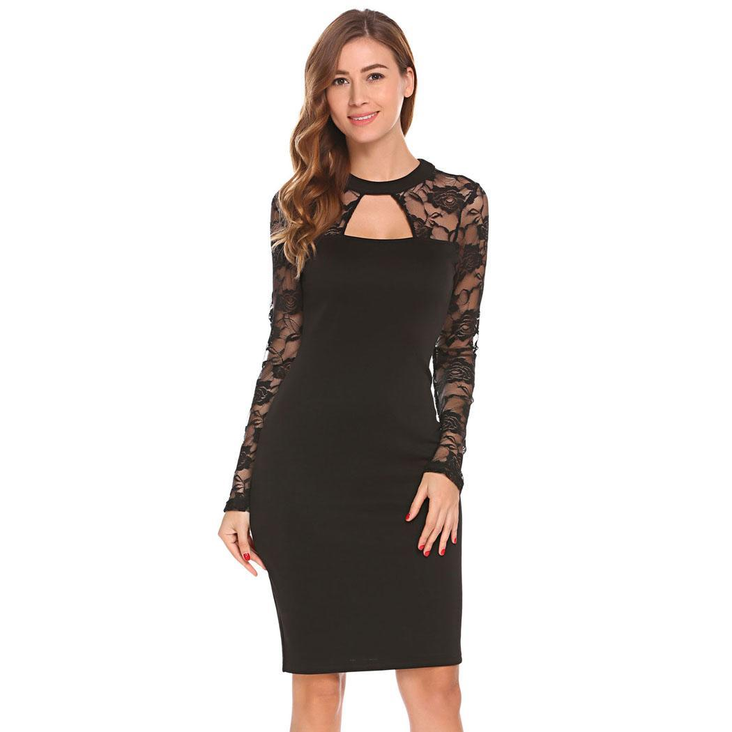 AL'OFA Women Bodycon Party   Dress     Cocktail     Dresses   Round Neck Sheer Floral Lace Long Sleeve Sexy Homecoming   Dress   Formal Gown