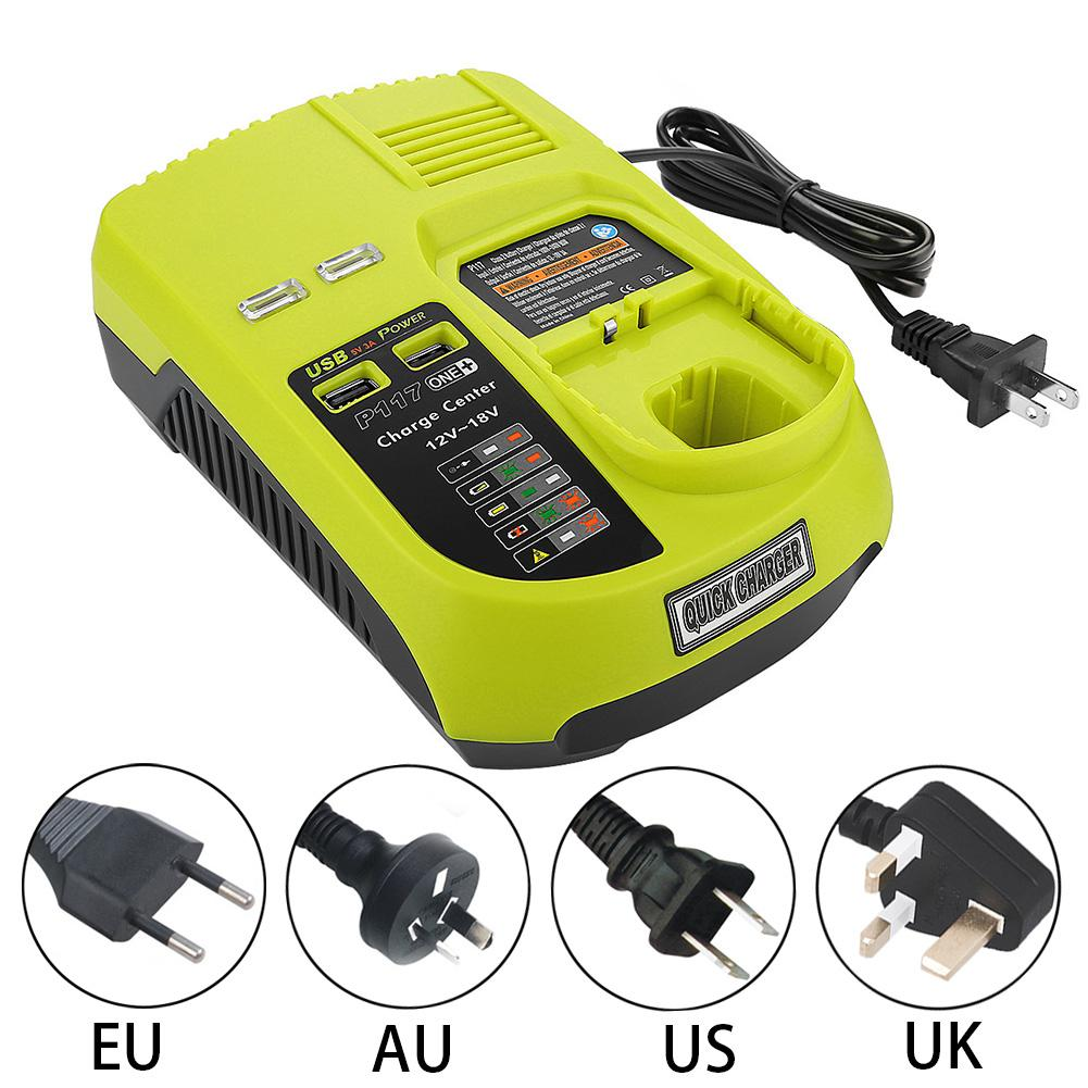 Charger For RYOBI P117 12V 18V Lithium Nickel Universal Battery Charger With USB Interface Dropshipping Supporting