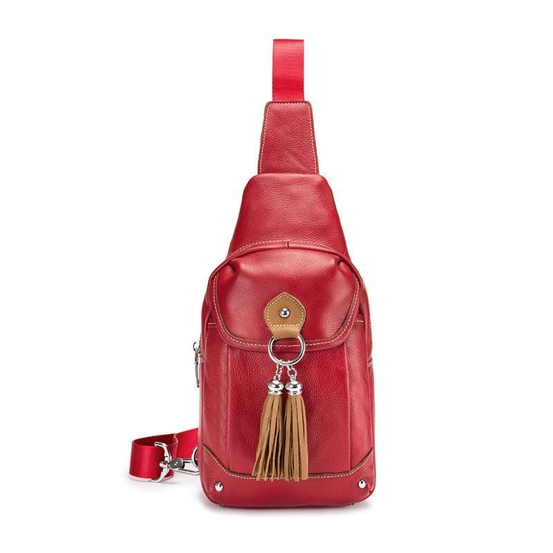 BULLCAPTAIN Crossbody Bags For Women Messenger Chest Bag Packs Casual Bag Genuine Leather Single Shoulder Strap Pack
