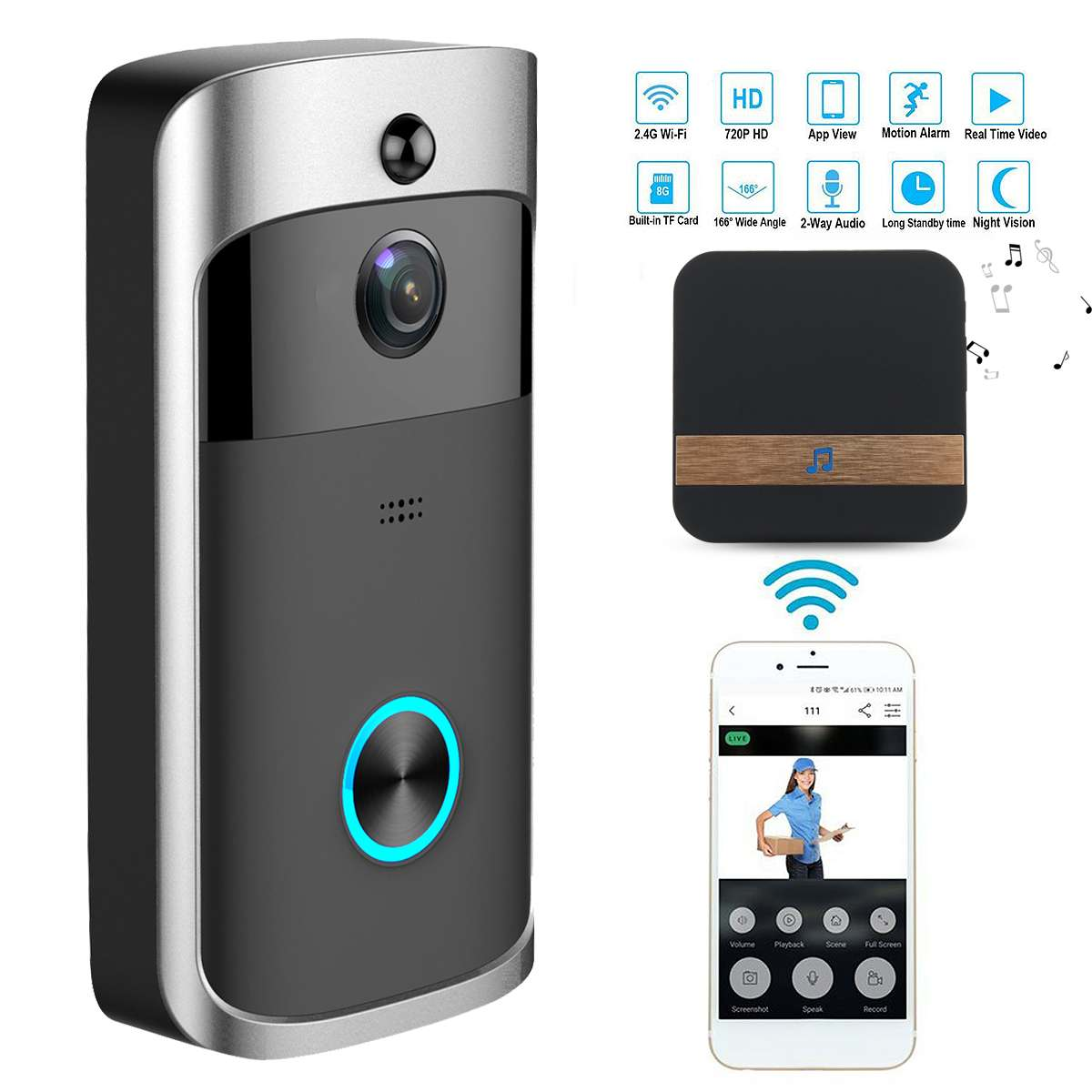 цена на Wireless Camera Video Doorbell Home Security WiFi Smartphone Remote Video Rainproof Night Vision Alarm Doorbell