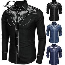 aa271cff1c603 Coofandy Mens Batı Gömlek Uzun Kollu Vintage Işlemeli Denim Düğme Aşağı  Kovboy Gömlek Bahar Sonbahar pamuk