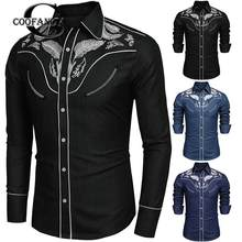 b9a03069d75 Coofandy Mens Western Shirts Long Sleeve Vintage Embroidered Denim Button  Down Cowboy Shirt Spring Autumn Cotton