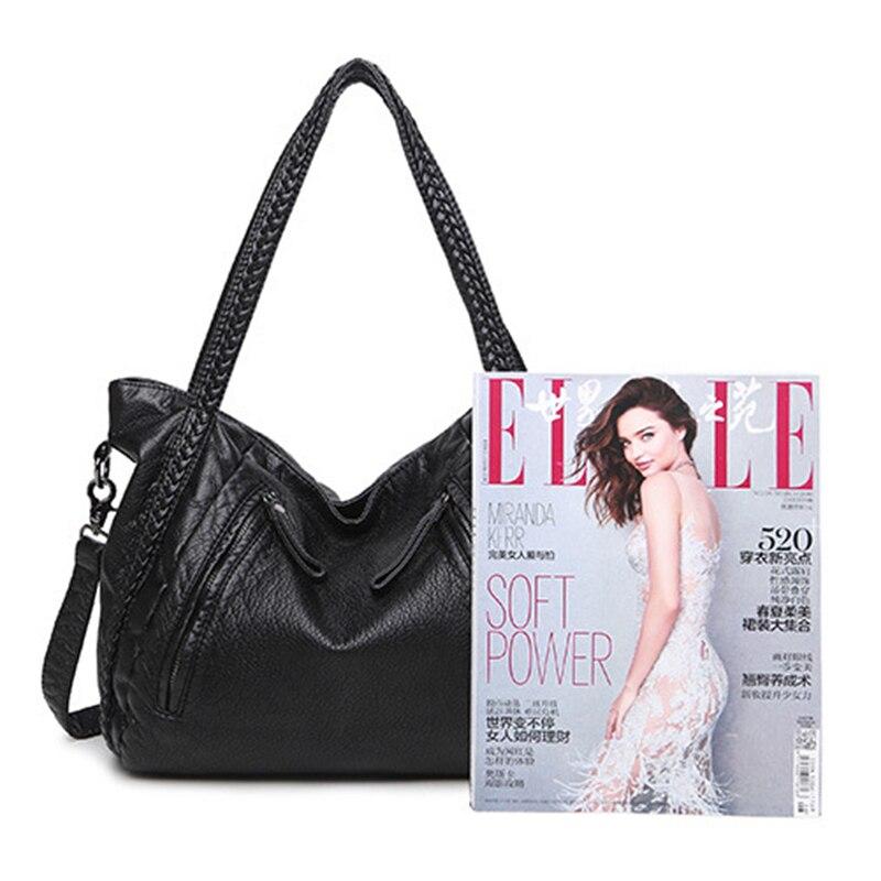 Big Capacity Women Handbags Soft Leather Lady Tote Bag Woven Pattern Shoulder Bag, Black Small