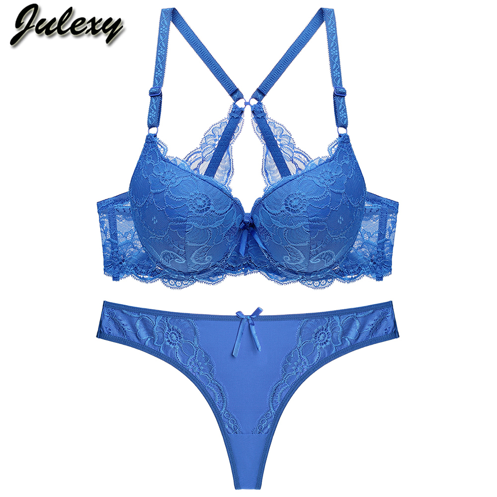 Julexy New 2019 Sexy tong Women   Bra     Set   solid Lace massage Intimates   Bra     brief     Sets   Transparent Underwear Panty   Set