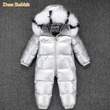 30 רוסית חורף חליפת שלג 2020 ילד תינוק מעיל 90% ברווז למטה חיצוני תינוקות בגדי בנות טיפוס עבור בני ילדים סרבל 2 ~ 5y
