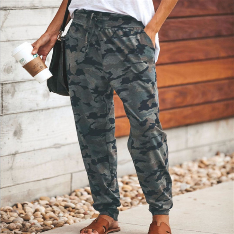 Trendy Women Clothes Slim Camouflage Casual Elastic Trousers High Waist Pocket Cotton Loose Legging One Pieces