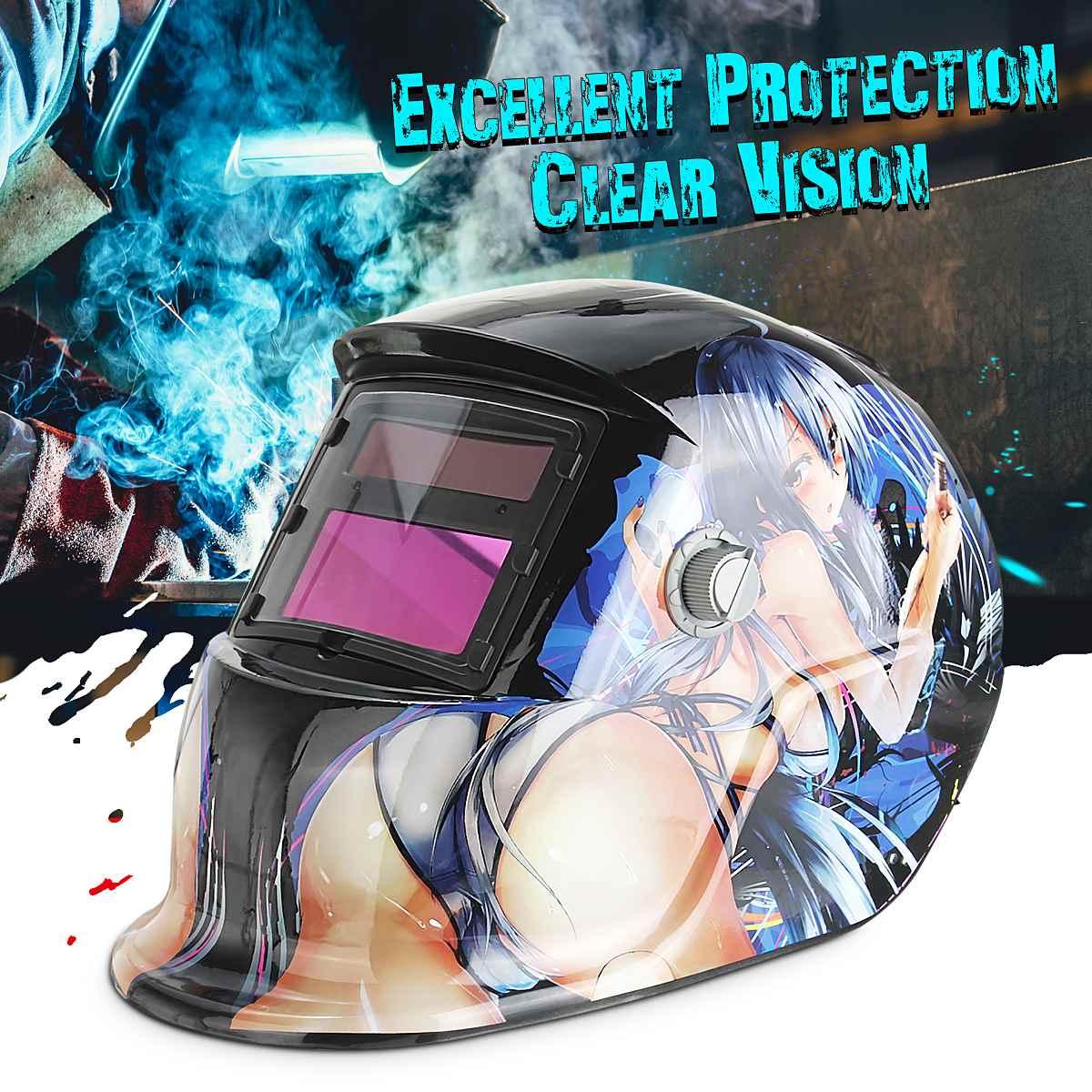 Pro Solar automatyczne przyciemnianie kask spawalniczy Arc Tig Mig maska zmienne światło szlifowanie spawaczy seksowny piękny wzór