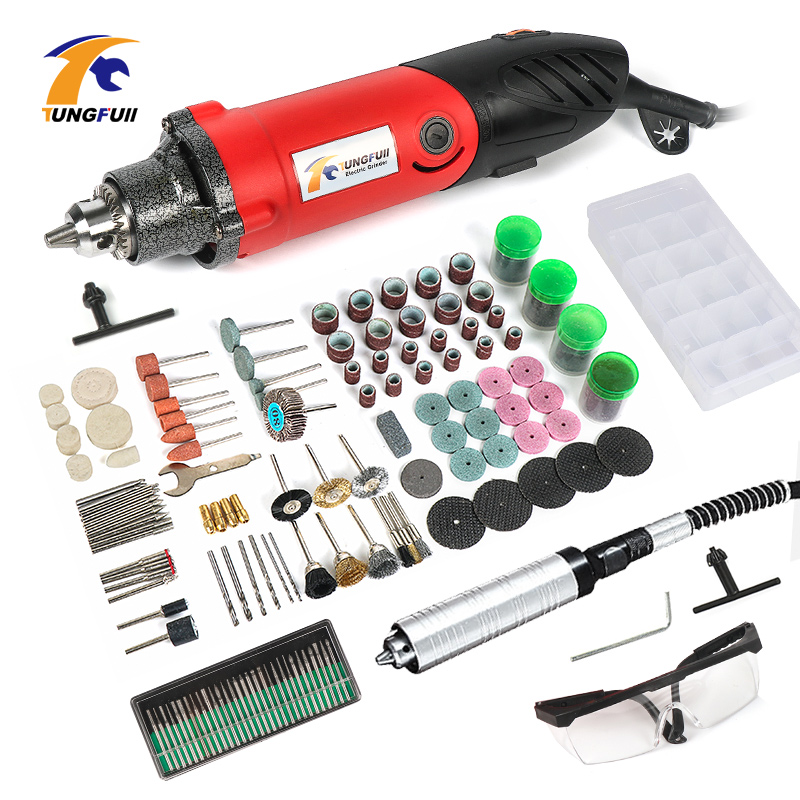 TUNGFULL 220V Grinding Machine Electric Mini Drill With 192pcs Dremel Accessories Polishing Power Tools Accessories Grinder 8mm 10mm angle grinder auxiliary side handle electric drill grinding machine for rotary hammer power tools accessories w315