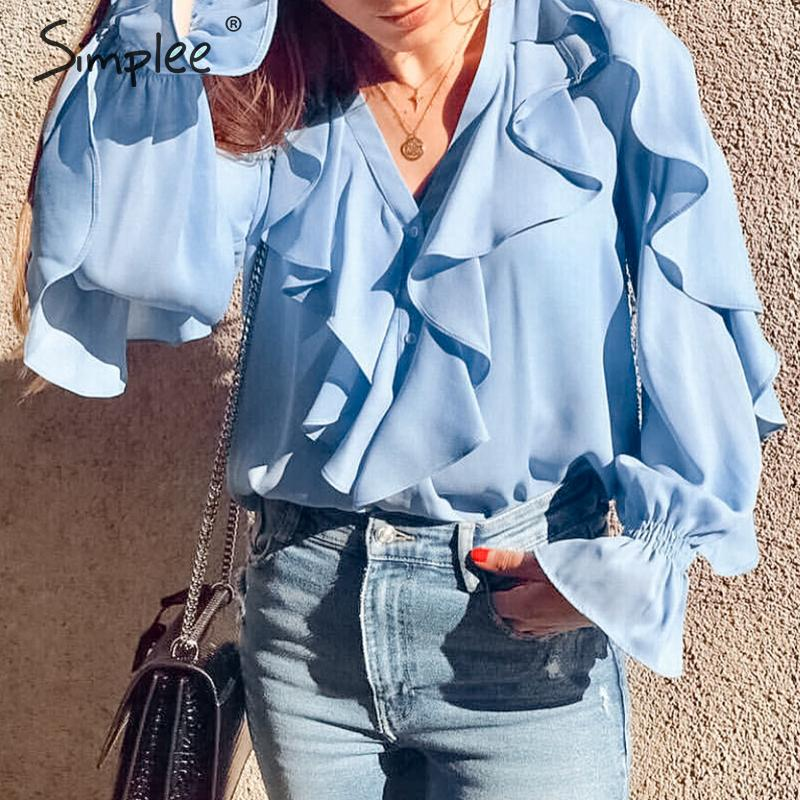 Simplee Ruffled v-neck women   blouse     shirt   Elegant v-neck soft chiffon female tops   shirt   Long sleeve party club ladies tops   shirt