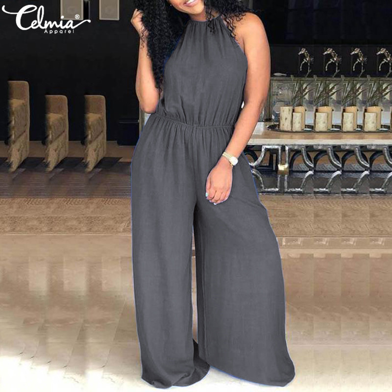 Celmia Women Long   Jumpsuits   2019 Summer Rompers Sexy Sleeveless Casual Loose Elastic Waist Solid Wide Leg Pant Plus Size Overall