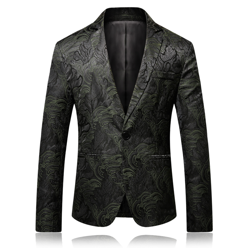 Mens Printed Blazer Masculina Slim Fit 2019 New Wind Jacquard Black 4XL Elegant Wedding Party Stylish Blazers For Men Jacke
