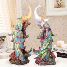New Resin Statue Colorful Bird Wonder Phoenixs Figurine Home Furnishing Decorative Sculpture Peacock Office Home Decor Crafts(China)