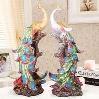 New Resin Statue Colorful Bird Wonder Phoenixs Figurine Home Furnishing Decorative Sculpture Peacock Office Home Decor Crafts