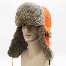 IANLAN Unisex Winter Russian Style Ushanka Fabric Top Real Rabbit Fur Skiing Hats Men Women Adjustable Bomber IL00424
