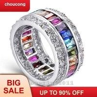Choucong Fine Jewelry полный митиль Цвет Gem фианит AAAAA 925 пробы серебро Обручение обручальное кольцо для Для женщин Sz 5 10
