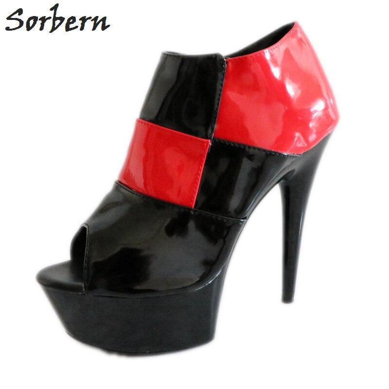 Sorbern Black And Red Women Pumps Peep