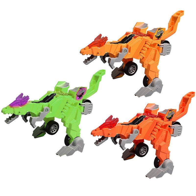 Eerzuchtig Kinderen Creatieve Vervorming Dinosaurus Wagen Elektrische En Licht Muziek Voertuig Universele Kinderen Speelgoed Robot Model Auto