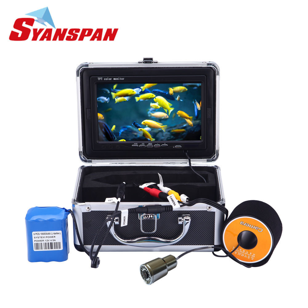 Best SYANSPAN Portable Fish Finder Underwater Fishing Video Camera for Fishing7 TFT LCD Monitor IP68 HD