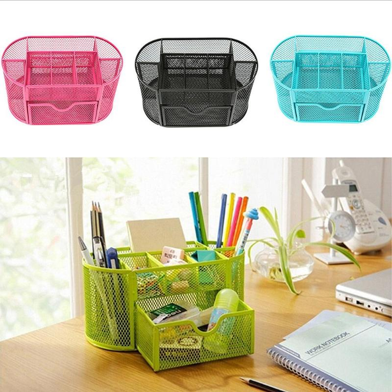 9 Cell Metal Desk Organizer Mesh Desktop Pencil Pen Sundries Badge Holder For Scissors Ruler Stationery School