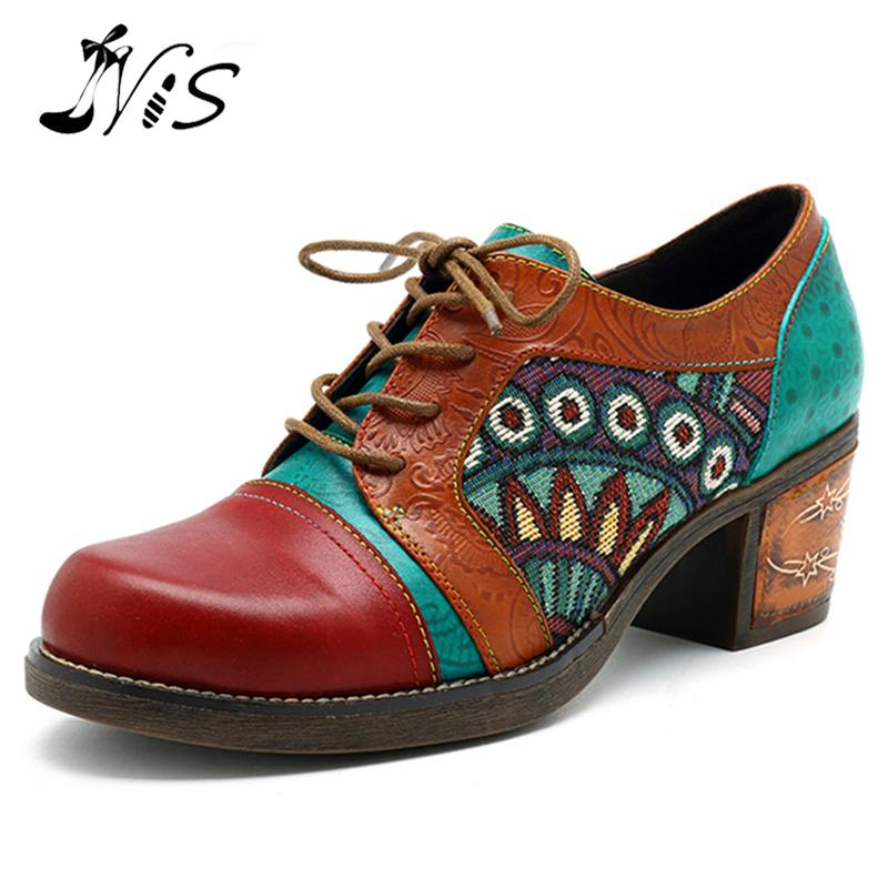 NIS Bohemian Vintage Style Women Pumps Shoes Woman Printed Splicing Genuine Leather Pumps Lace up Oxford