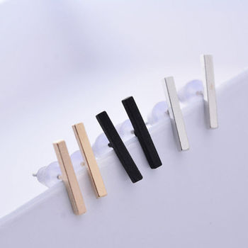ZTMYHDHD Fashion Minimalist Thin Bar T Shaped Staple Ear Stud 3 Colors Women Dainty Accessories Wedding.jpg 350x350 - ZTMYHDHD Fashion Minimalist Thin Bar T-Shaped Staple Ear Stud 3 Colors Women Dainty Accessories Wedding Party Earring 1Pair
