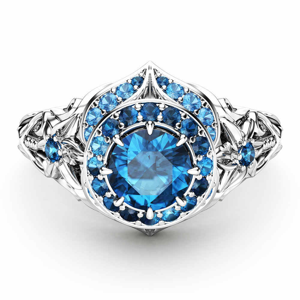 14K Gold Diamond Sapphire แหวน Anillos งานแต่งงาน Bizuteria เครื่องประดับอัญมณีแหวน Blue Topaz อัญมณีผู้หญิงแหวนทอง