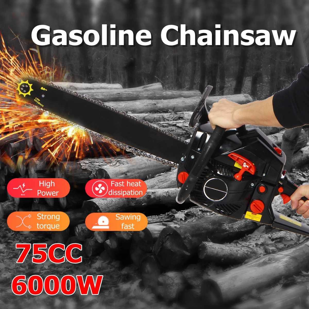 6KW essence essence scie à chaîne 6000 W 75cc 2 temps essence scie à chaîne bois élagage coupe