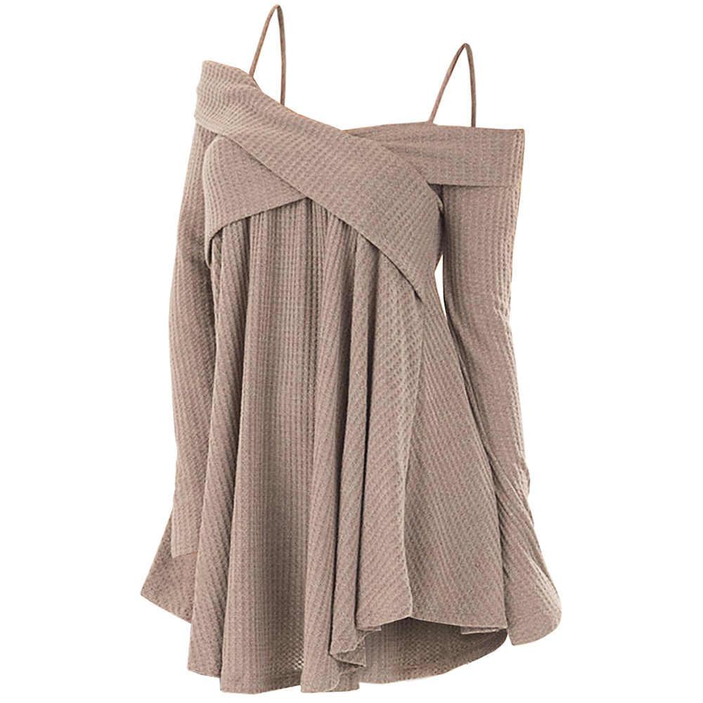 Kenancy пикантные с открытыми плечами крест накрест туника свитер для женщин осенний пуловер Мода повседневное верхняя одежда вязаный