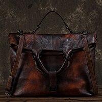 High Quality Genuine Leather Women Messenger Shoulder Bag Cross Body Tote Handbag Real Cowhide Vintage Female Top Handle Bags