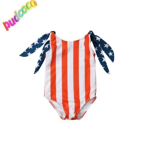 2019 Toddler Kids Baby Girls Stars Stripe Bikini Swimwear Swimsuit Bathing Suit Beach Hot