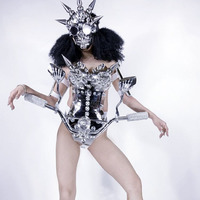 Halloween stage performance Silver Mirror disco costume conical armor costume motobike woman led costumes